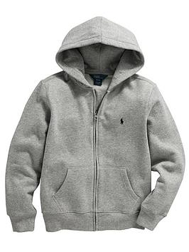 Ralph Lauren Boys Classic Zip Through Hoodie  Grey Marl