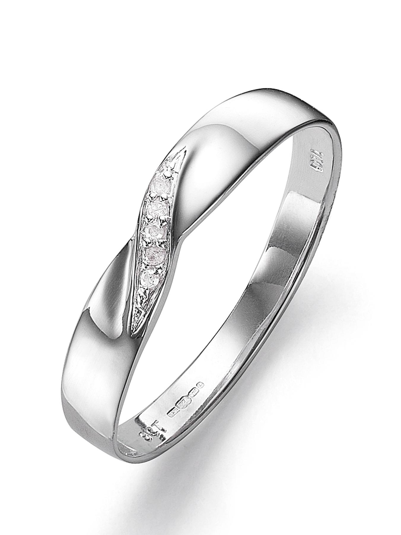 9 Carat White Gold Diamond Set 3mm Wedding Band