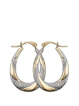 love-gold-9-carat-gold-2-tone-creole-earrings