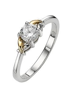 the-love-silver-collection-ladies-dress-ring-in-silver-and-9-carat-gold-with-cubic-zirconia-setting
