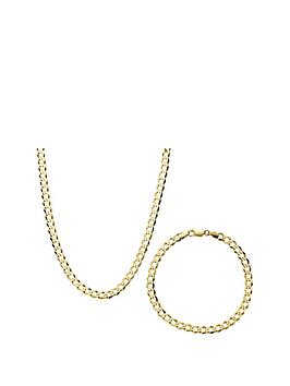 love-gold-9-carat-yellow-gold-12oz-solid-diamond-cut-curb-necklace-and-bracelet-set