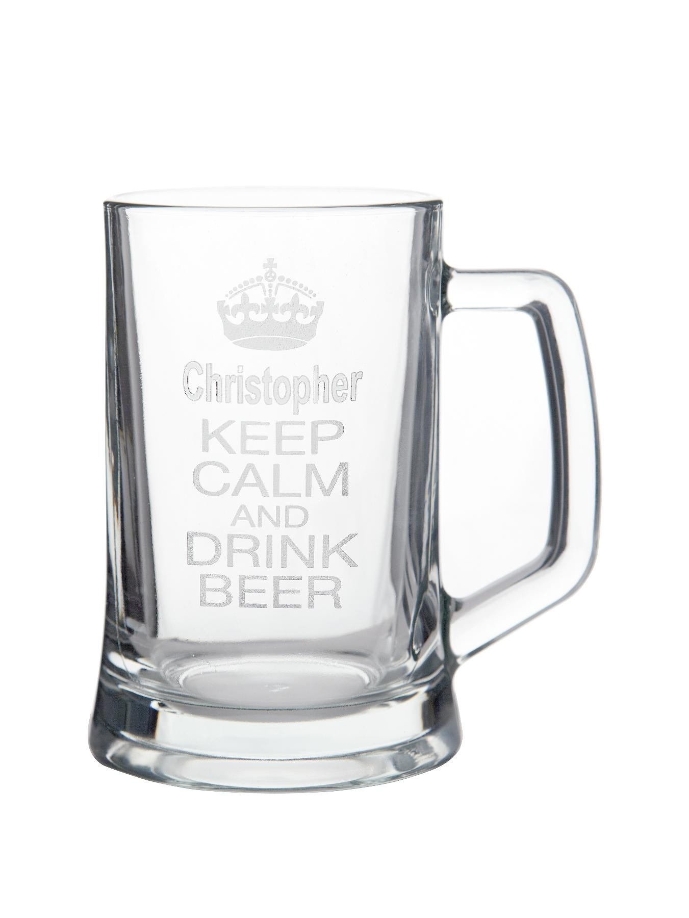 Personalised Keep Calm Glass Tankard