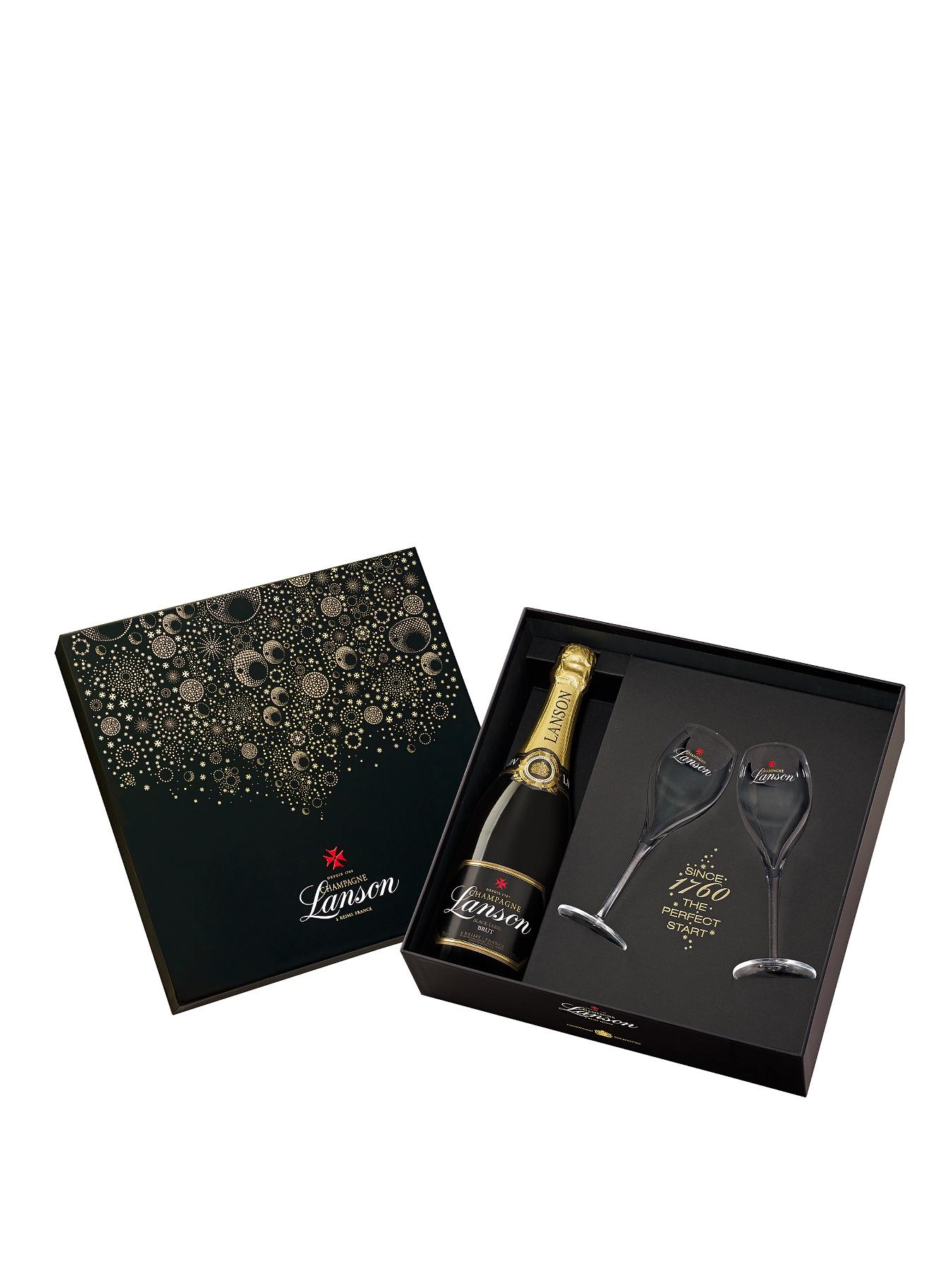 Black Label Champagne Deluxe Gift Pack with 2 Clear Champagne Flutes