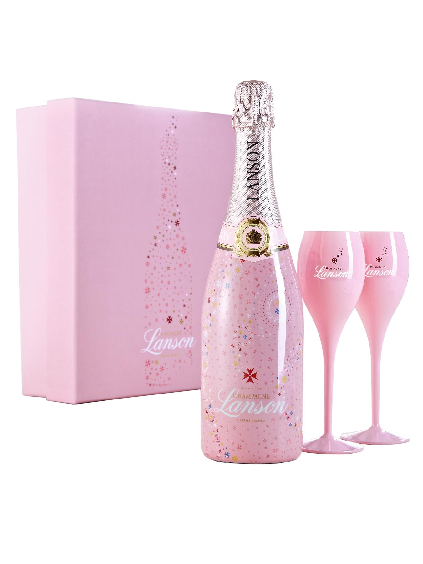 Rose Champagne Deluxe Gift Pack with 2 Pink Champagne Flutes