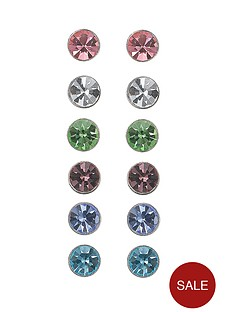 the-love-silver-collection-set-of-6-sterling-silver-cubic-zirconia-stud-earrings