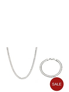 the-love-silver-collection-sterling-silver-1oz-solid-diamond-cut-curb-chain-and-bracelet-set