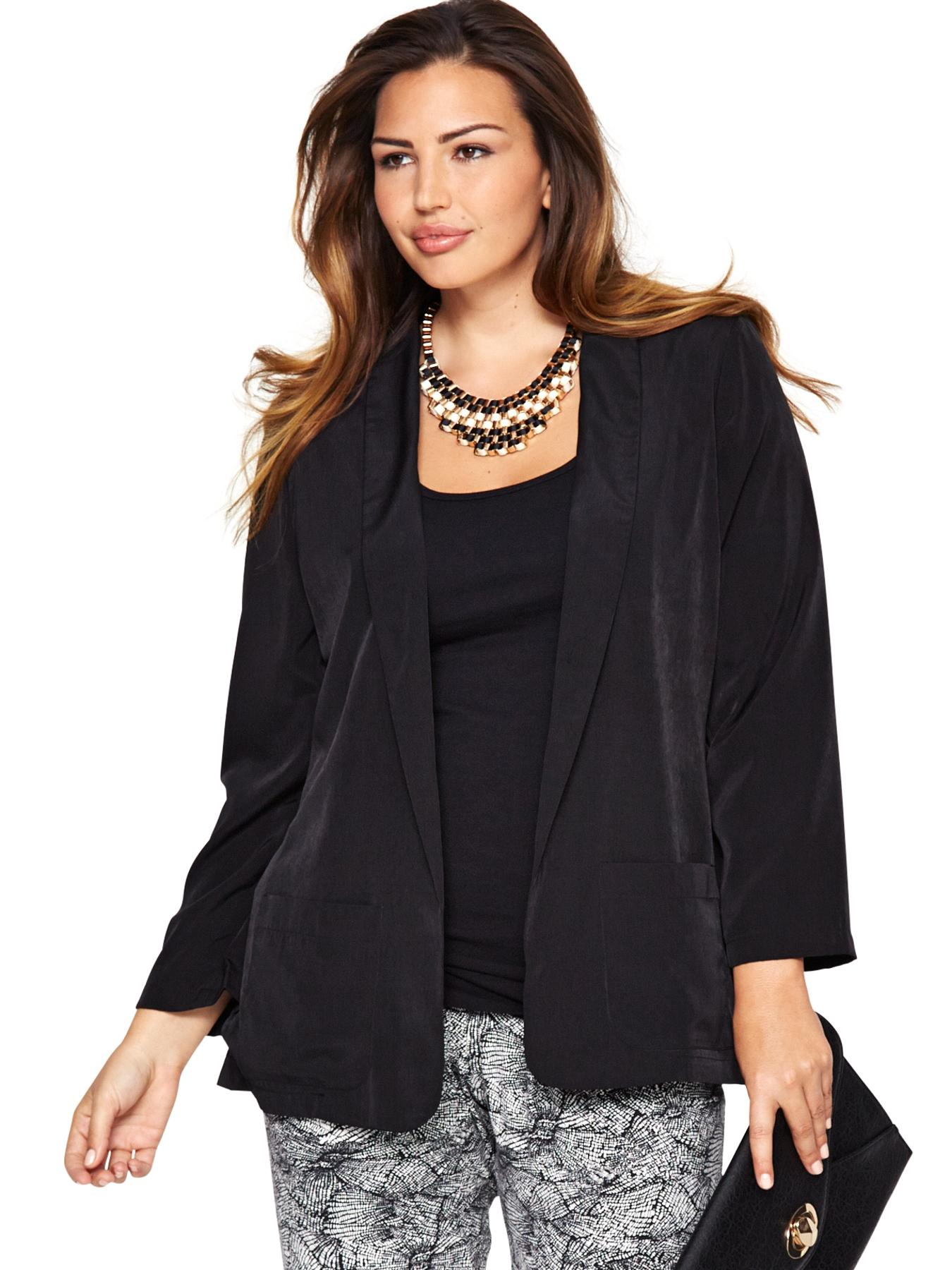 Draped Blazer (Available in sizes 14-32), Black