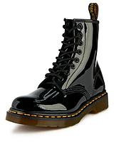 8 Eyelet Leather Ankle Boots - Black Patent