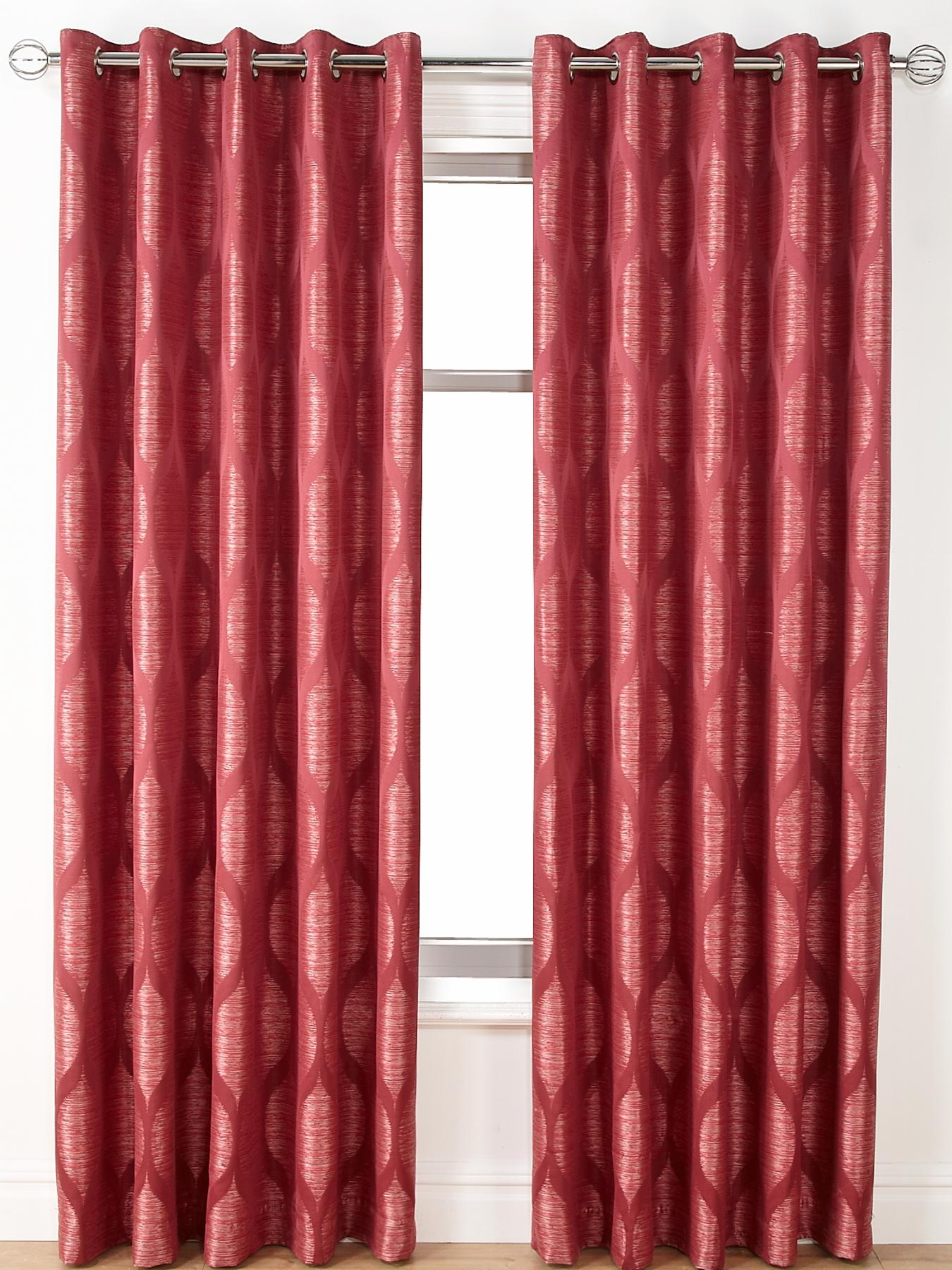 Ogee Jacquard Eyelet Curtains, Chocolate,Black at Littlewoods Home Shopping