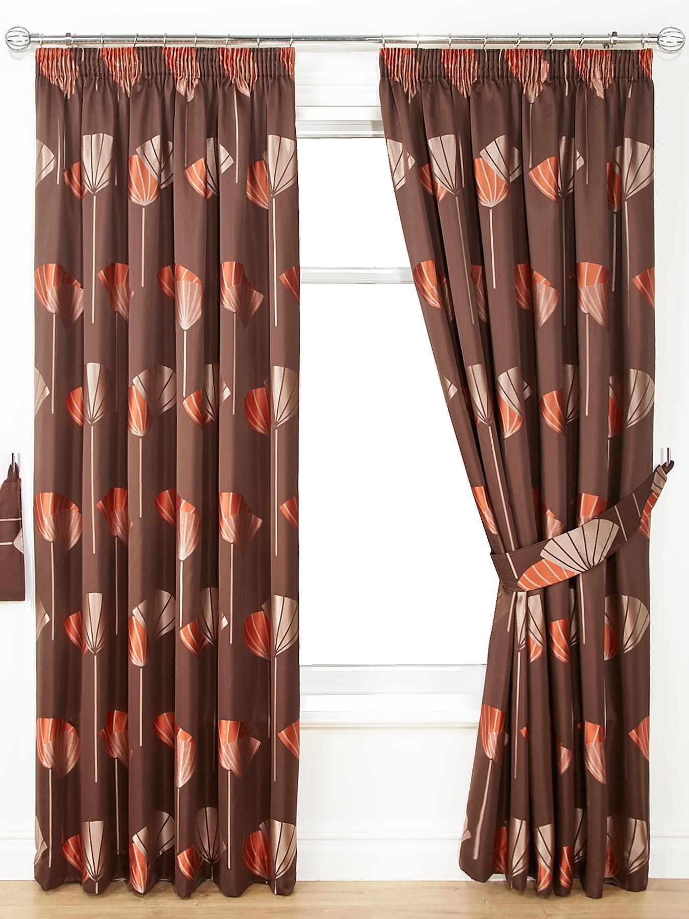 Dandelion Jacquard Pencil Pleat Curtains, Red,Black,Chocolate.