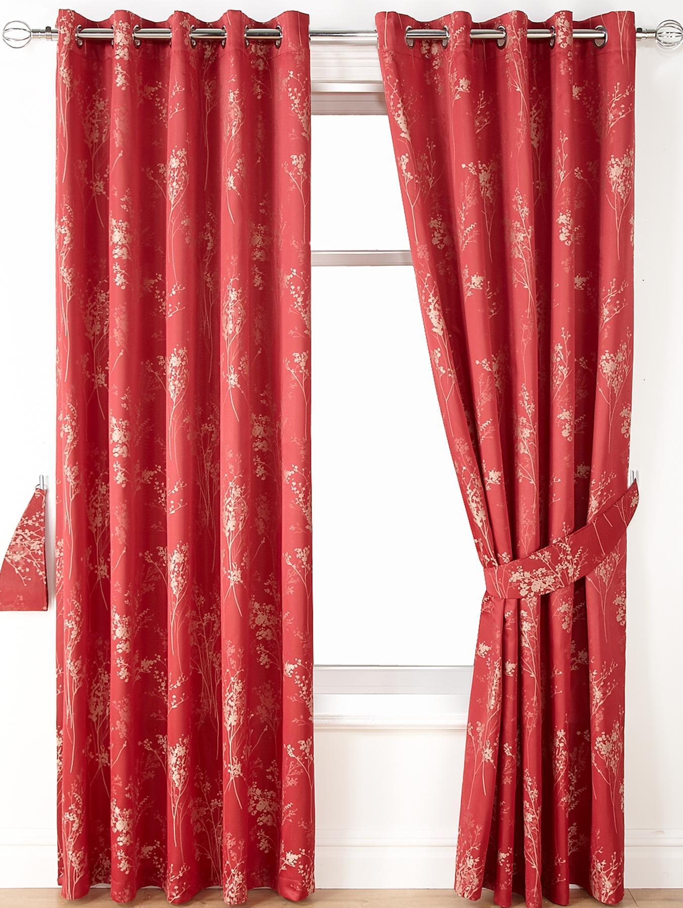 Tokyo Jacquard Blackout Eyelet Curtains, Red,Silver.