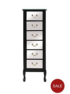 elysee-mirrored-front-narrow-chest-of-6-drawers