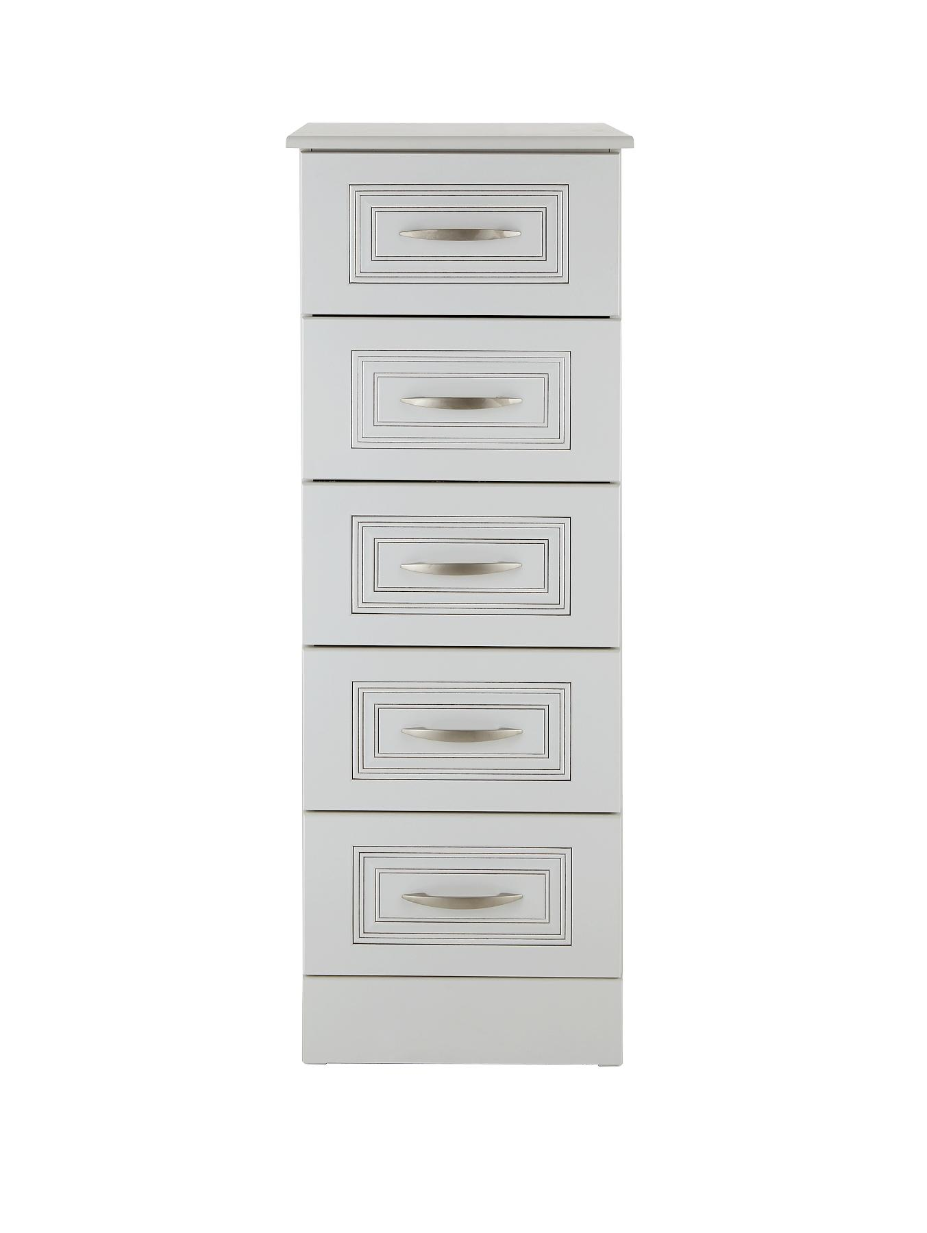 chest of 5 drawers white dorchester ready assembled narrow chest