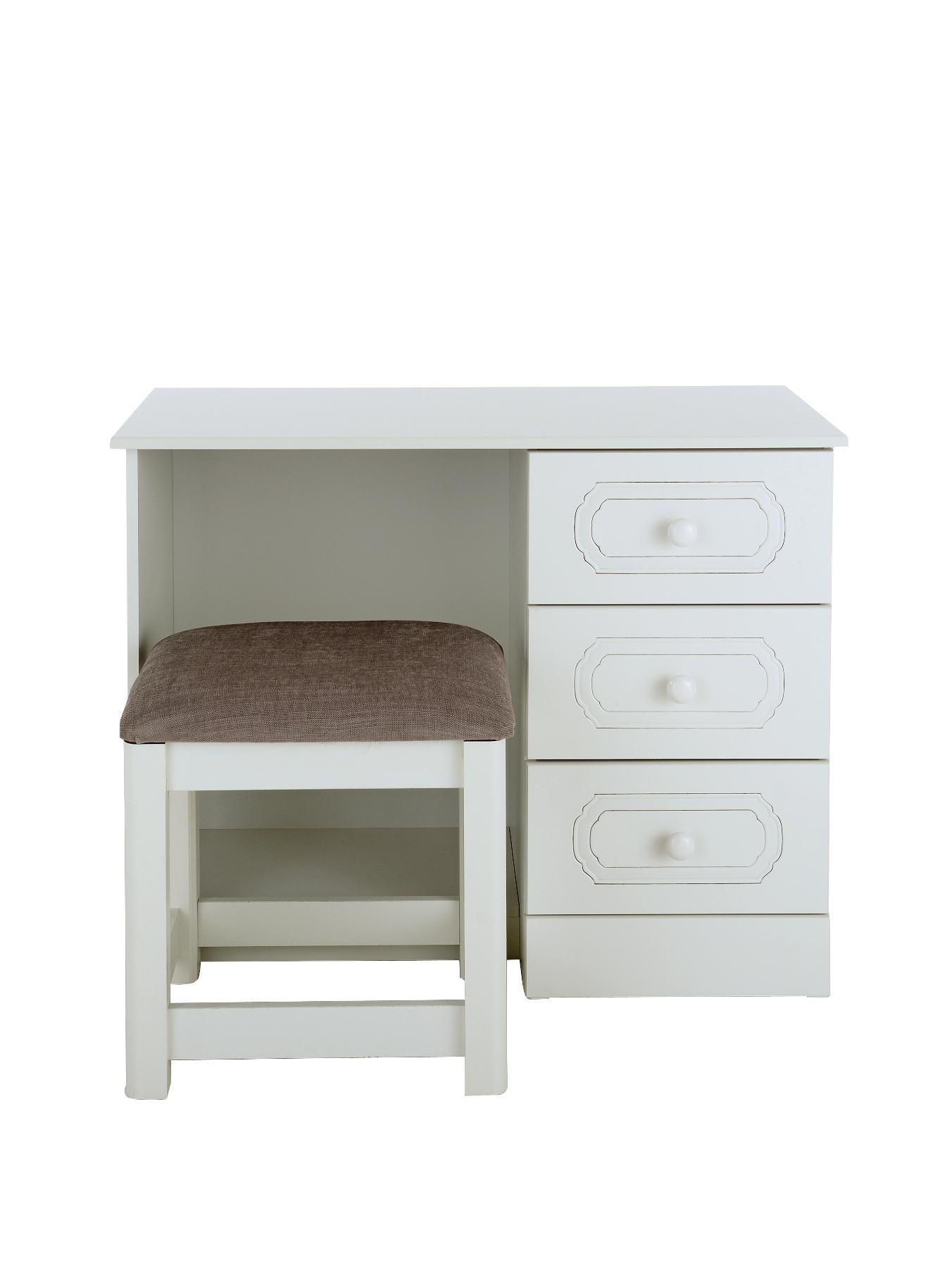 Hudson Ready Assembled Dressing Table and Stool, White