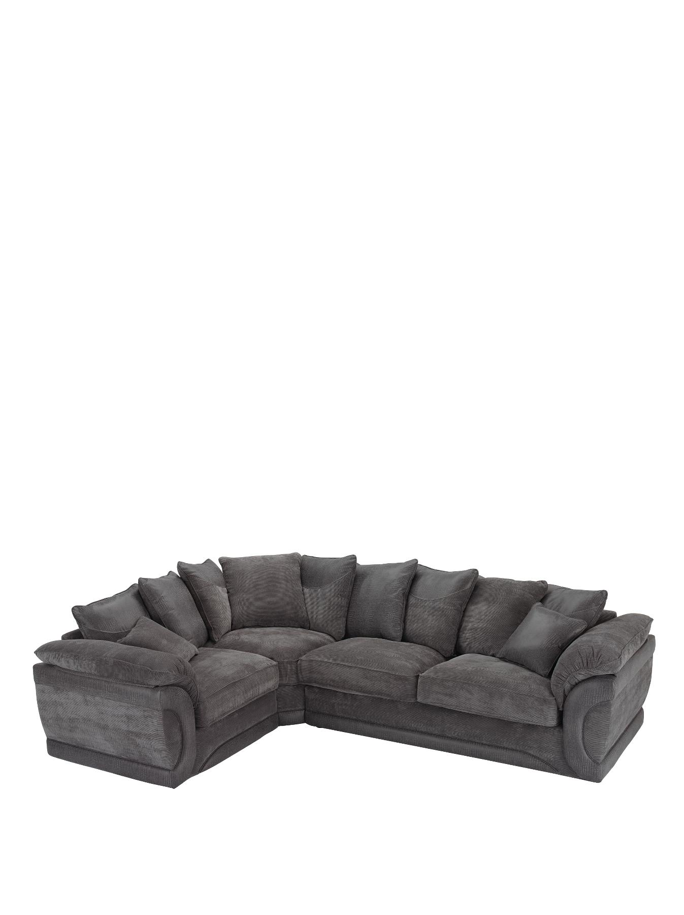 Maze Fabric and Faux Leather LeftHand Corner Group Sofa ChocolateGreyBlack