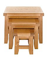 Oakland Oak Ready Assembled Nest of 3 Tables