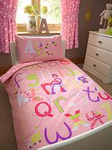 Alphabet Girls Toddler Single Quilt Cover and Pillowcase Set