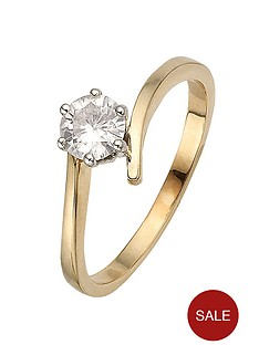 moissanite-9-carat-yellow-gold-50pt-solitaire-twist-ring