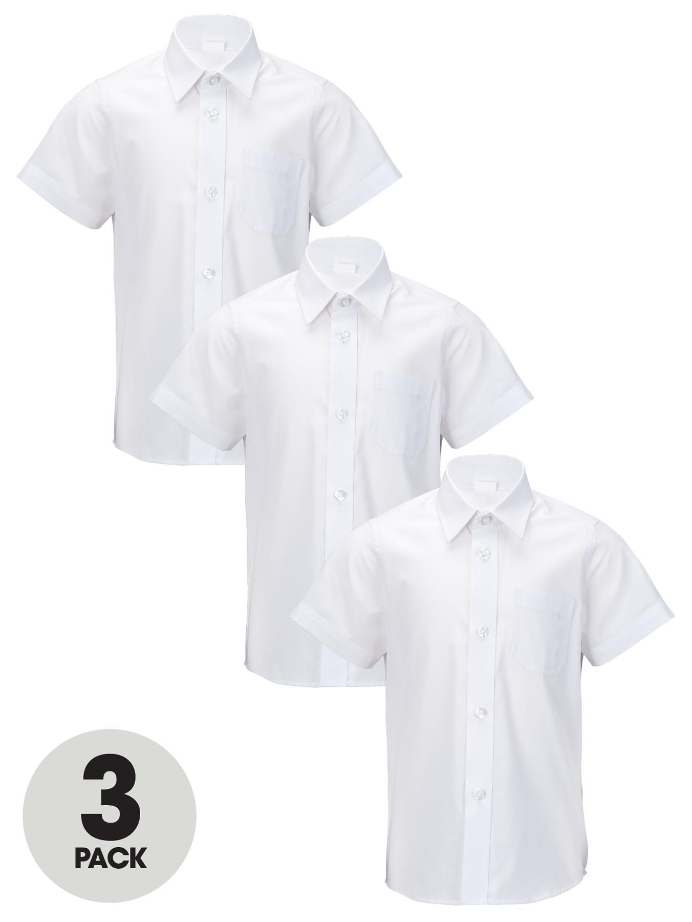 Boys Short Sleeve School Shirts (3 Pack), White,Blue