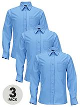 Girls Easy Care School Uniform Long Sleeve Shirts (3 Pack)