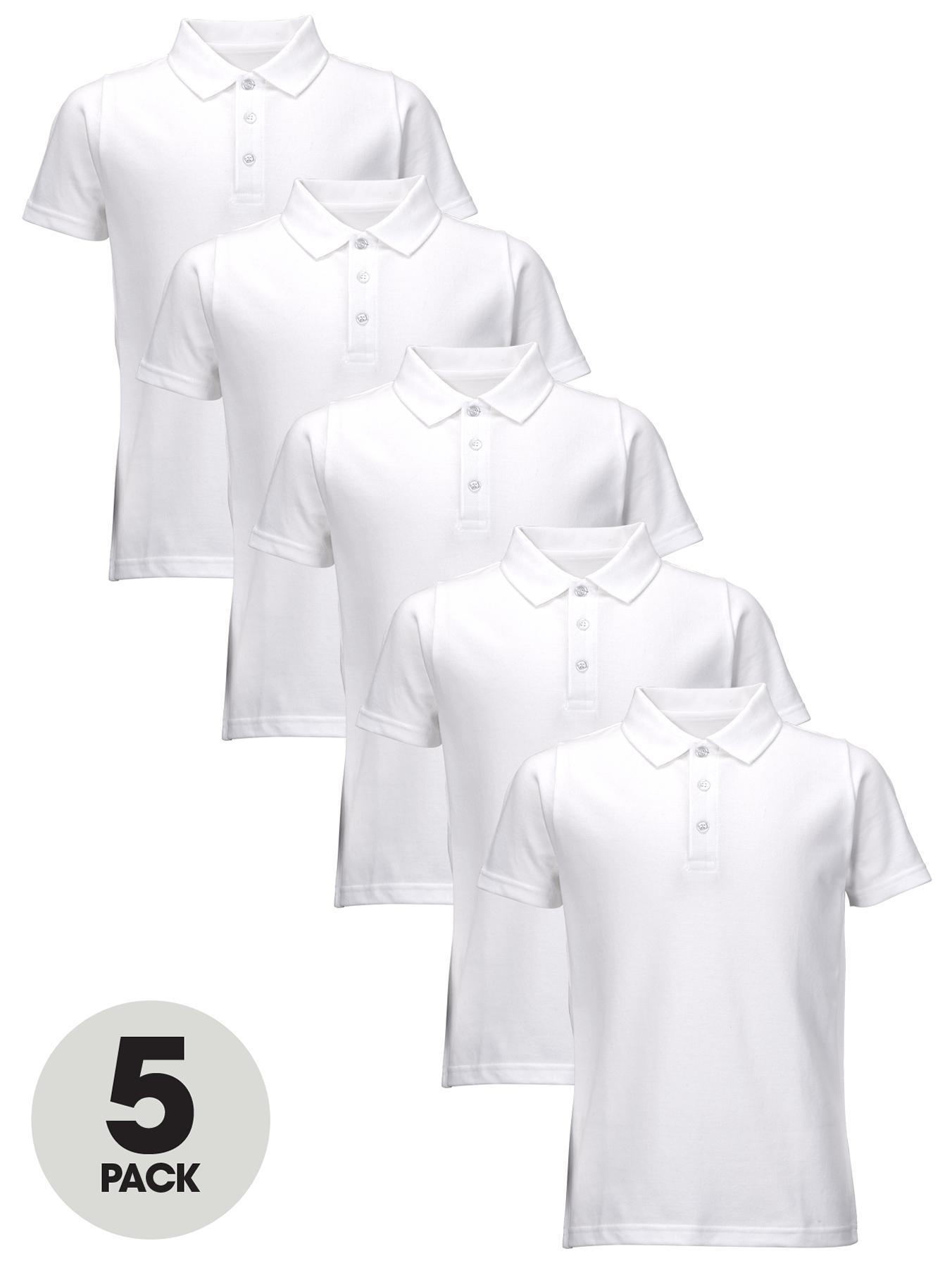 Boys School Polo Shirts (5 Pack), Blue,Red,White at Littlewoods