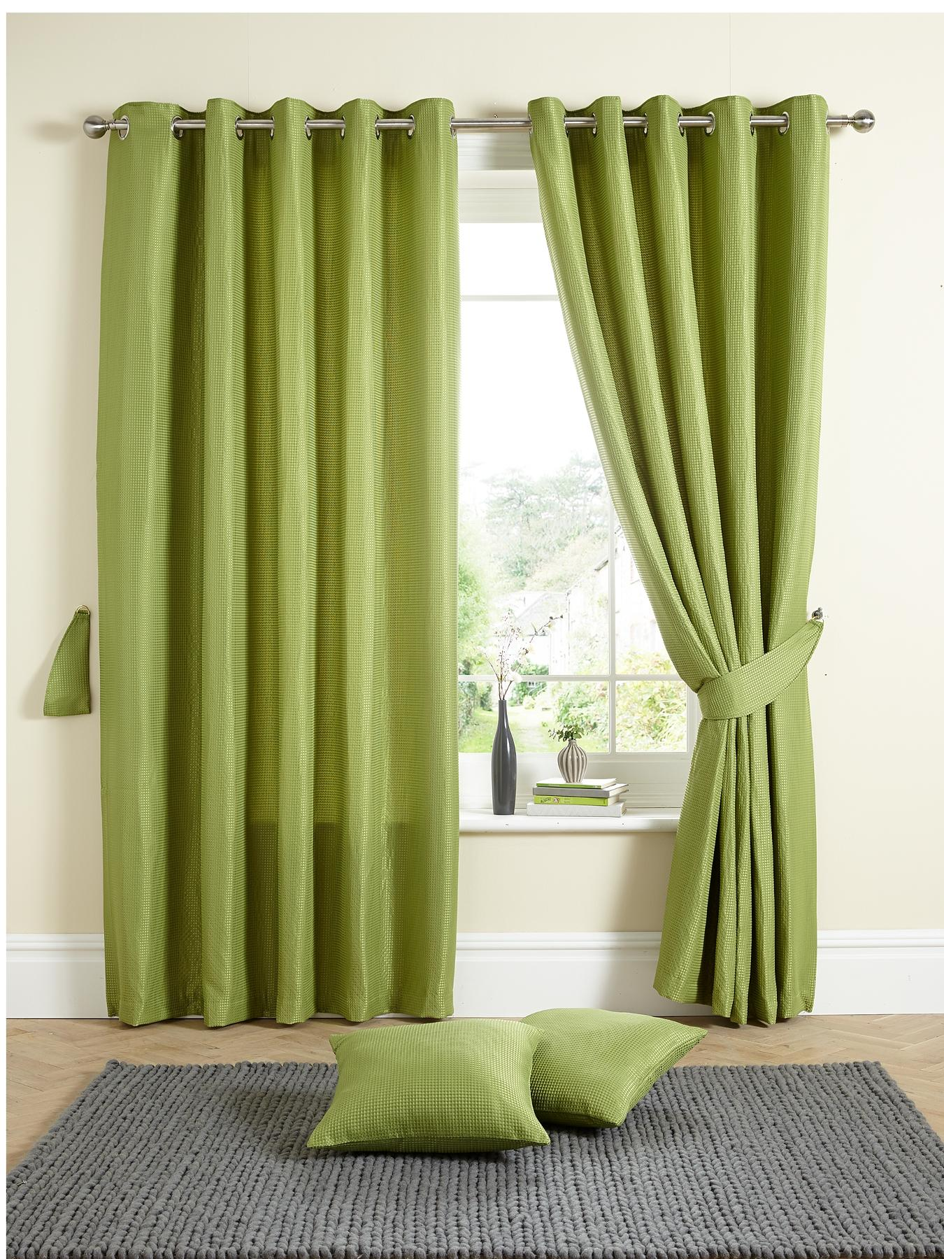 Millie Waffle Eyelet Curtains, Green,Chocolate,Plum,Cream,Red,Blue.