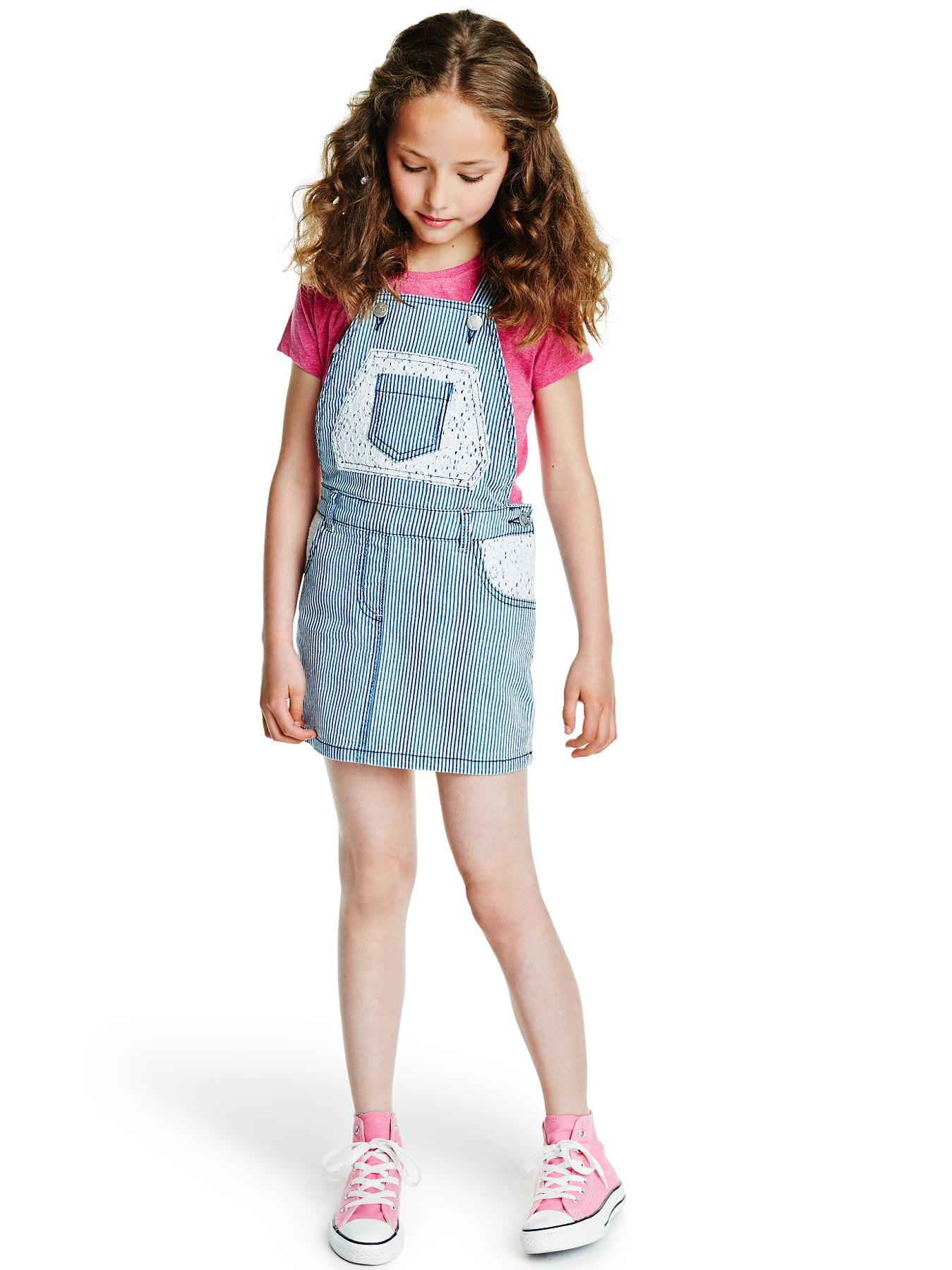 Girls Stripe Dungaree Pinafore Dress, Navy.