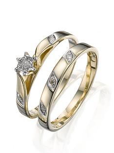 love-diamond-9-carat-yellow-gold-5-point-diamond-two-piece-bridal-set