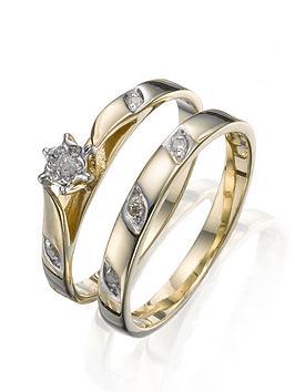 love-diamond-9-carat-yellow-gold-5-point-diamond-two-piece-bridal-set