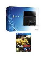500Gb Console with Pro Evolution Soccer 2016 and Optional 12 Months PlayStation Plus and/or Extra Controller