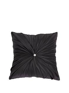 by-caprice-diamante-jewel-satin-pleated-filled-cushion-black