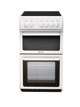 hotpoint-hae51ps-50cm-twin-cavity-electric-cooker-with-ceramic-hob-white