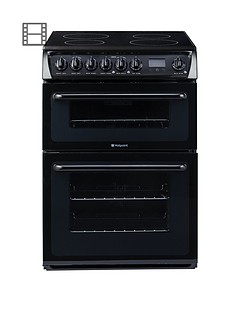 hotpoint-hae60ks-60cm-ceramic-hob-double-oven-electric-cooker-black