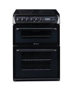 hotpoint-hae60ksl-ultima-60cm-ceramic-hob-double-oven-electric-cooker-black