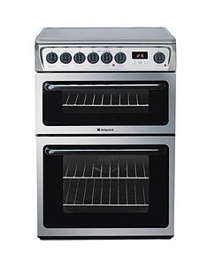hotpoint-hae60xs-ultima-60cm-ceramic-hob-double-oven-electric-cooker-stainless-steel