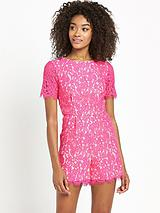 Contrast Lining Lace Playsuit
