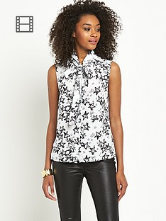 definitions-sleeveless-star-print-pussybow-blouse