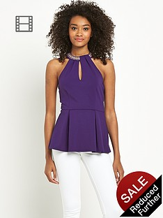 definitions-embellished-neck-peplum-top