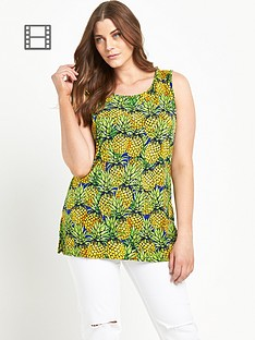 so-fabulous-pineapple-print-split-side-sleeveless-tunic