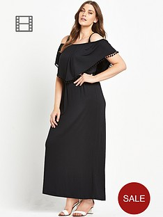 so-fabulous-pom-pom-trim-double-layer-bardot-jersey-maxi-dress