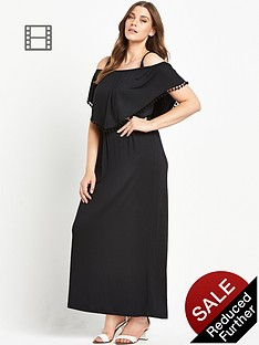 so-fabulous-pom-pom-trim-double-layer-bardot-jersey-maxi-dress