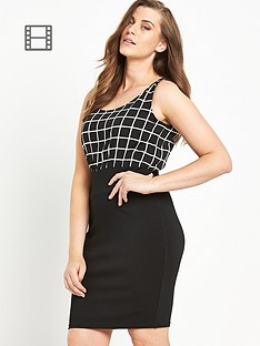 ax-paris-curve-grid-print-2-in-1-dress