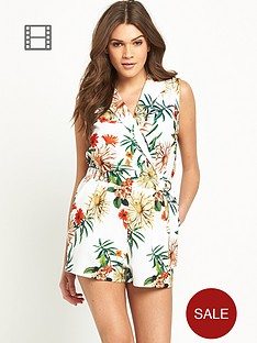 girls-on-film-short-sleeved-printed-collar-playsuit