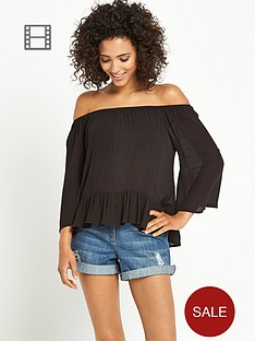 south-crinkle-bardot-top