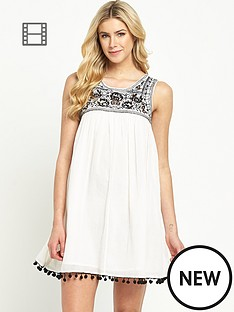 south-pom-pom-trim-swing-dress