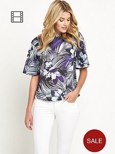 south-floral-print-angel-sleeve-top
