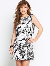 Overlay Cutout Back Printed Dress