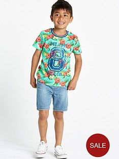 ladybird-boys-flowered-t-shirt-and-denim-shorts-set-2-piece