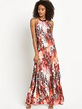 Printed Gold Trim Maxi Dress