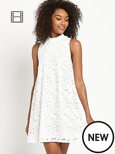 definitions-lace-high-neck-swing-dress